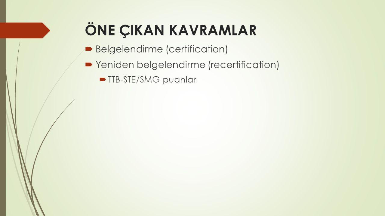ÖNE ÇIKAN KAVRAMLAR  Belgelendirme (certification)  Yeniden belgelendirme (recertification)  TTB-STE/SMG puanları