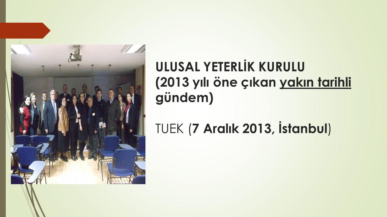 ULUSAL YETERLİK KURULU (2013 yılı öne çıkan yakın tarihli gündem) TUEK ( 7 Aralık 2013, İstanbul )