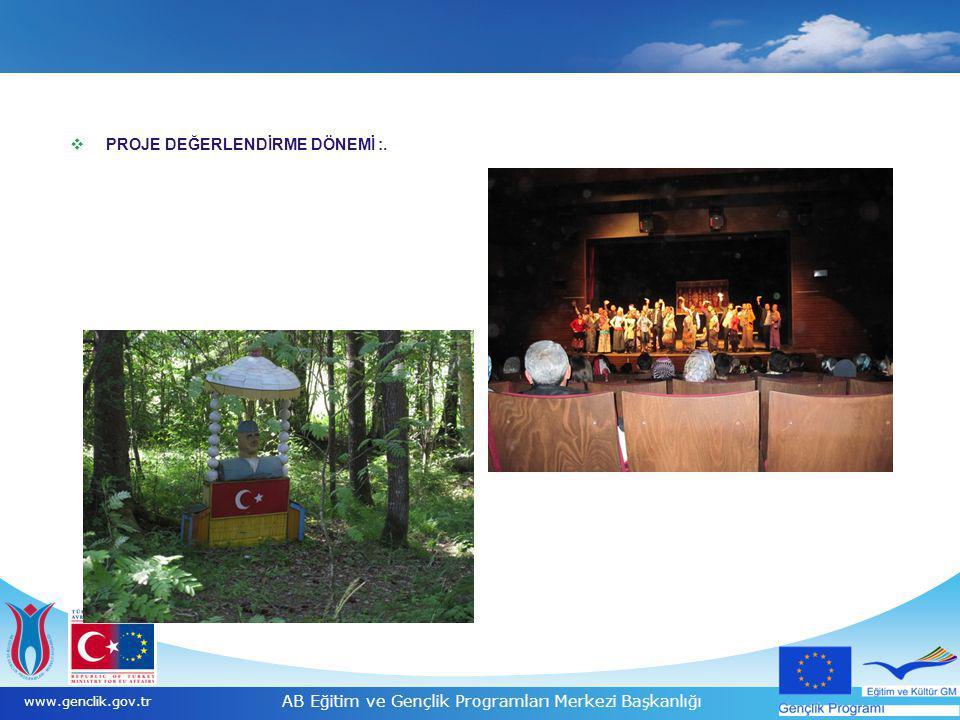 17 www.genclik.gov.tr AB Eğitim ve Gençlik Programları Merkezi Başkanlığı  PROJE DEĞERLENDİRME DÖNEMİ :.
