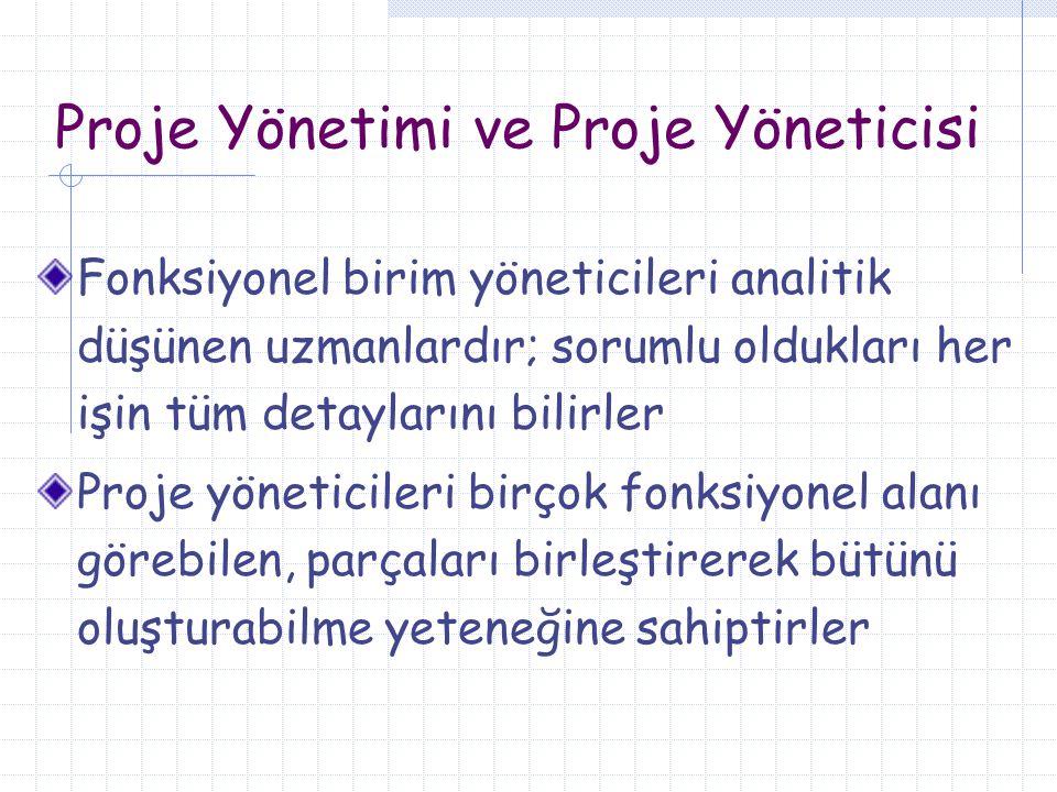 Proje Yönetimi ve Proje Yöneticisi Fonksiyonel birim yöneticileri analitik düşünen uzmanlardır; sorumlu oldukları her işin tüm detaylarını bilirler Pr