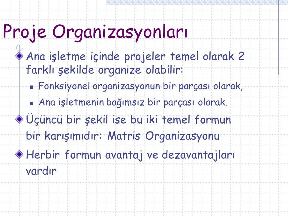 Proje Organizasyonları Ana işletme içinde projeler temel olarak 2 farklı şekilde organize olabilir: Fonksiyonel organizasyonun bir parçası olarak, Ana