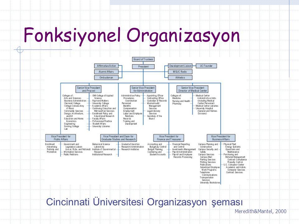 Fonksiyonel Organizasyon Cincinnati Üniversitesi Organizasyon şeması Meredith&Mantel, 2000