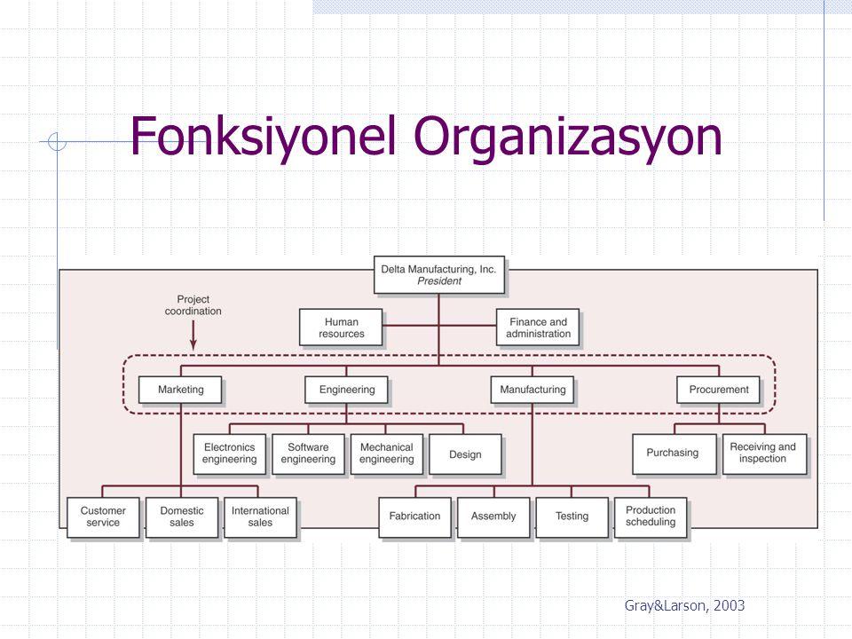 Fonksiyonel Organizasyon Gray&Larson, 2003