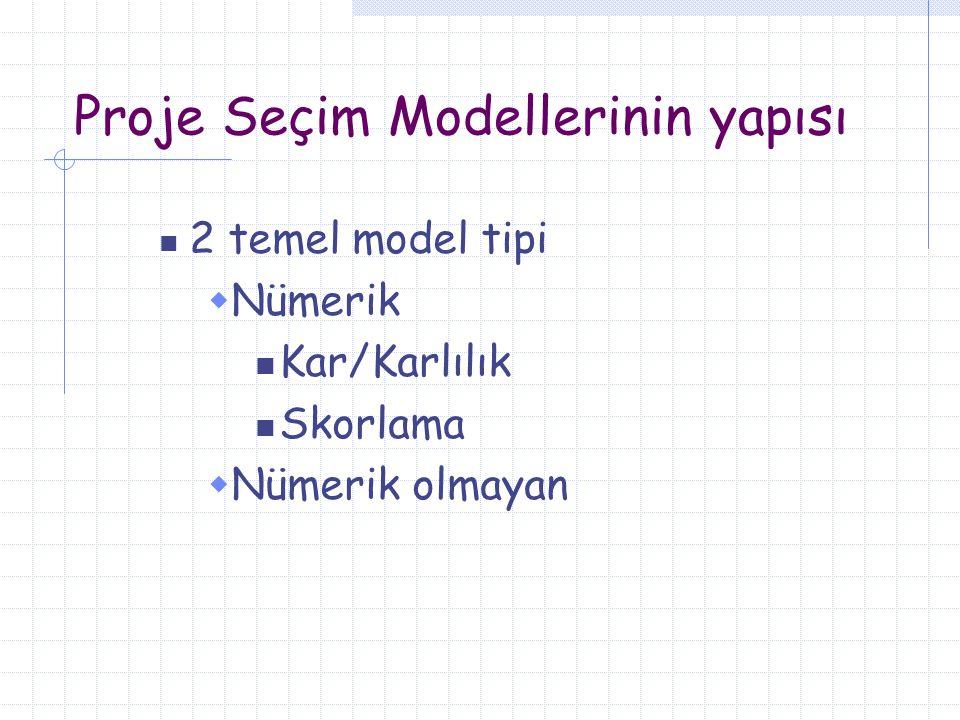 Proje Seçim Modellerinin yapısı 2 temel model tipi  Nümerik Kar/Karlılık Skorlama  Nümerik olmayan