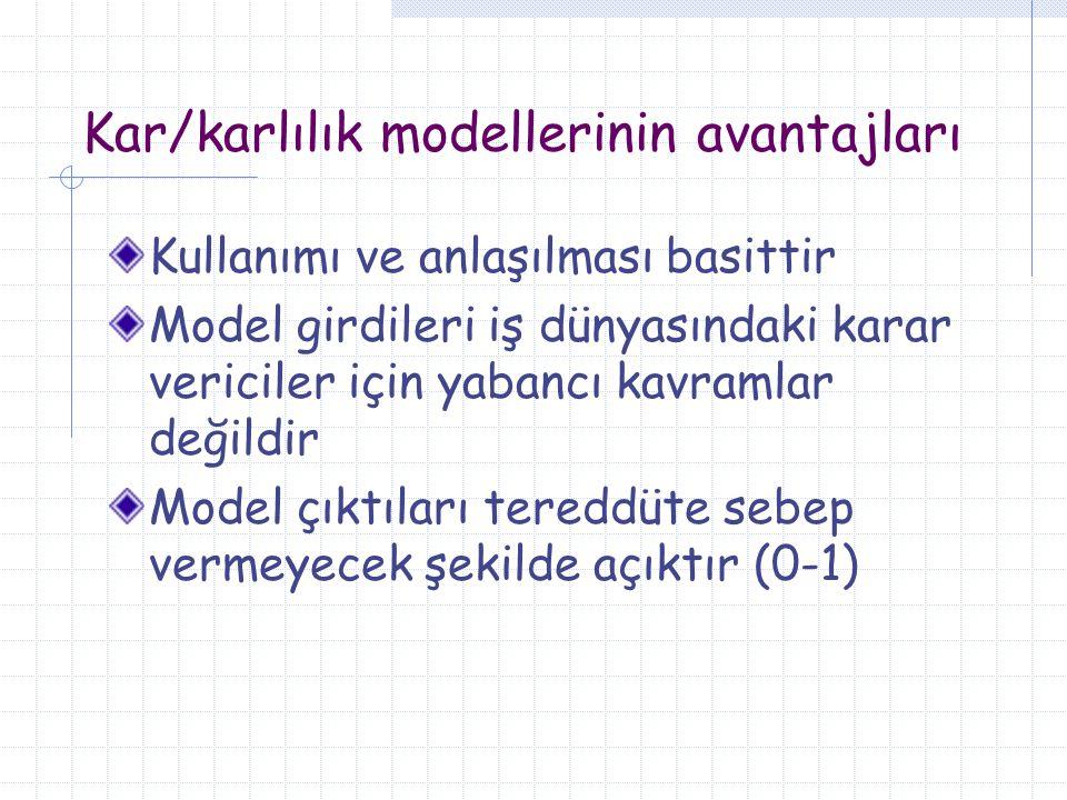 Kar/karlılık modellerinin avantajları Kullanımı ve anlaşılması basittir Model girdileri iş dünyasındaki karar vericiler için yabancı kavramlar değildi