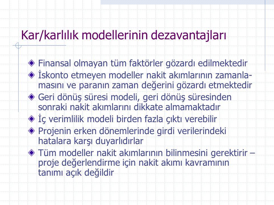 Kar/karlılık modellerinin dezavantajları Finansal olmayan tüm faktörler gözardı edilmektedir İskonto etmeyen modeller nakit akımlarının zamanla- masın