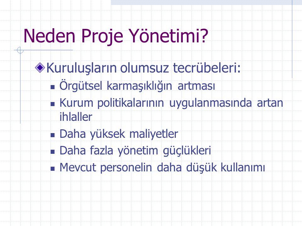 Neden Proje Yönetimi? Kuruluşların olumsuz tecrübeleri: Örgütsel karmaşıklığın artması Kurum politikalarının uygulanmasında artan ihlaller Daha yüksek