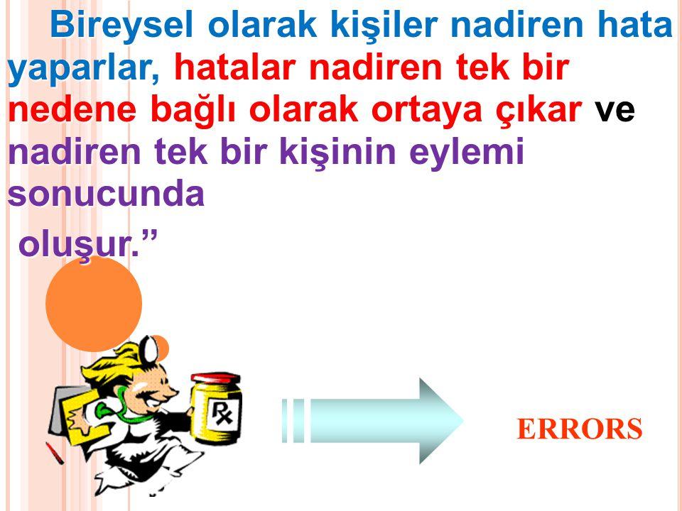 Bireysel olarak kişiler nadiren hata yaparlar, hatalar nadiren tek bir nedene bağlı olarak ortaya çıkar ve nadiren tek bir kişinin eylemi sonucunda Bireysel olarak kişiler nadiren hata yaparlar, hatalar nadiren tek bir nedene bağlı olarak ortaya çıkar ve nadiren tek bir kişinin eylemi sonucunda oluşur. oluşur. ERRORS