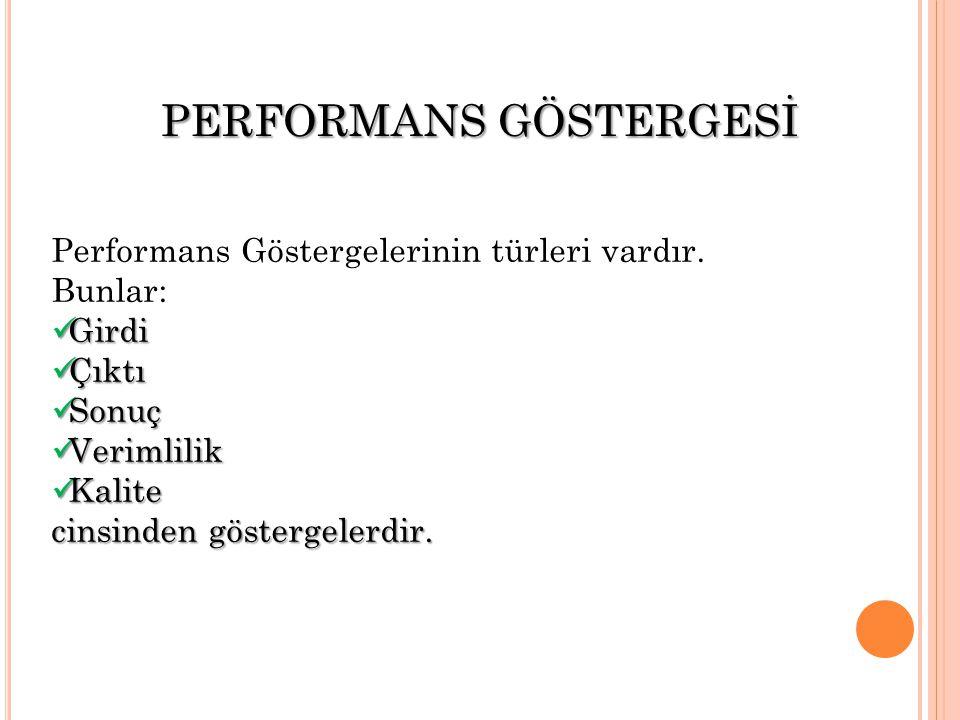 Performans Göstergelerinin türleri vardır.