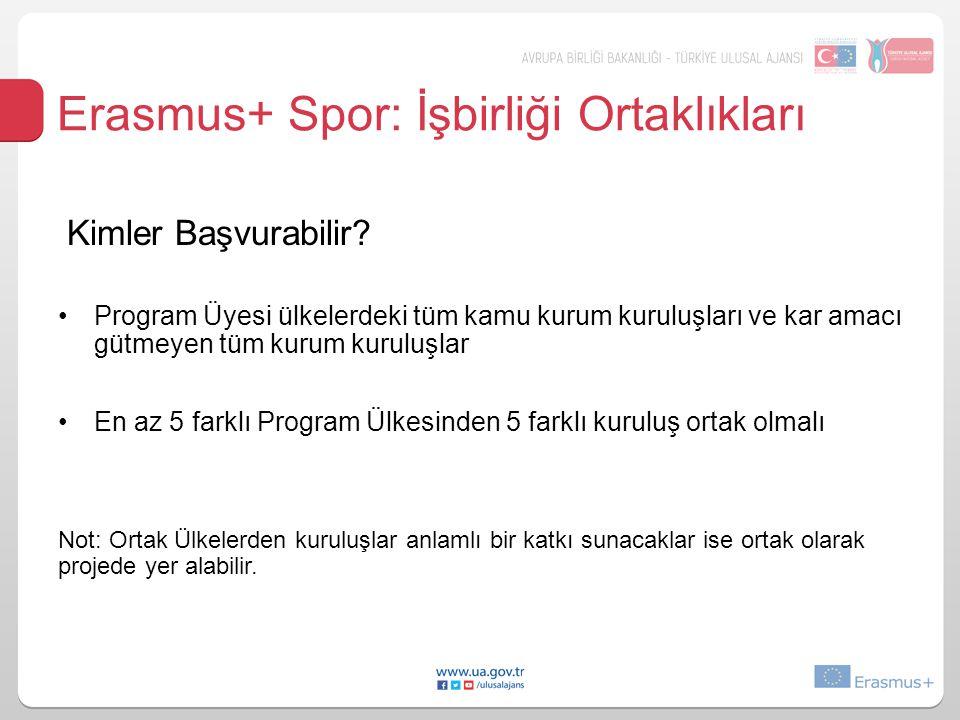 Erasmus+ Spor: İşbirliği Ortaklıkları Kimler Başvurabilir.