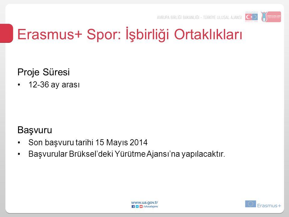Erasmus+ Spor: İşbirliği Ortaklıkları Proje Süresi 12-36 ay arası Başvuru Son başvuru tarihi 15 Mayıs 2014 Başvurular Brüksel'deki Yürütme Ajansı'na yapılacaktır.
