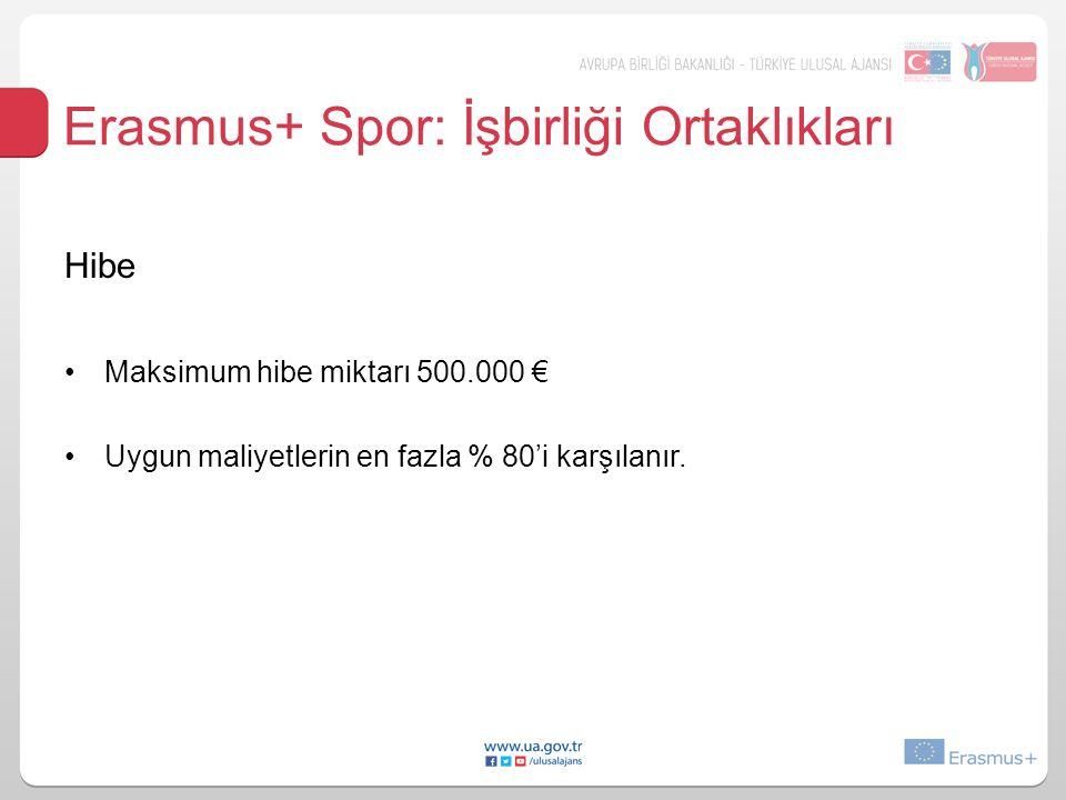 Erasmus+ Spor: İşbirliği Ortaklıkları Hibe Maksimum hibe miktarı 500.000 € Uygun maliyetlerin en fazla % 80'i karşılanır.