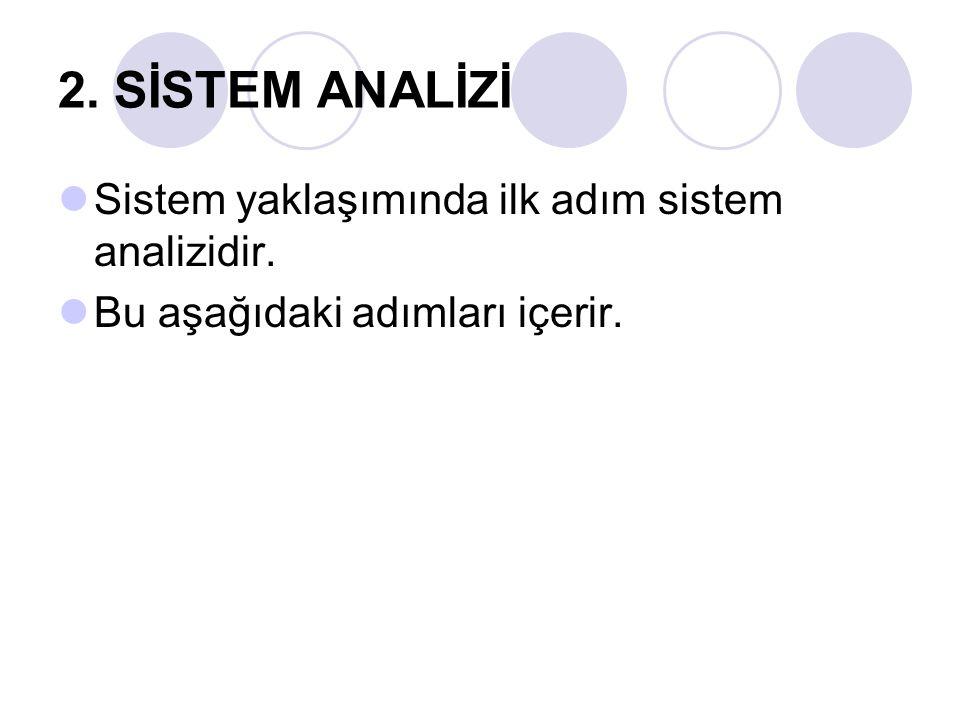 2. SİSTEM ANALİZİ Sistem yaklaşımında ilk adım sistem analizidir. Bu aşağıdaki adımları içerir.