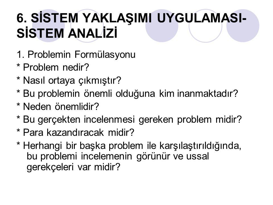 6.SİSTEM YAKLAŞIMI UYGULAMASI- SİSTEM ANALİZİ 1. Problemin Formülasyonu * Problem nedir.