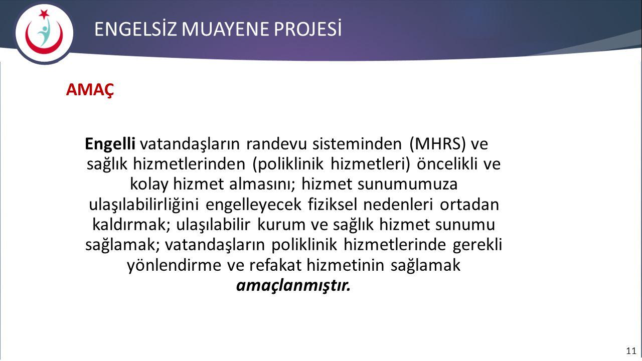 11 ENGELSİZ MUAYENE PROJESİ AMAÇ Engelli vatandaşların randevu sisteminden (MHRS) ve sağlık hizmetlerinden (poliklinik hizmetleri) öncelikli ve kolay
