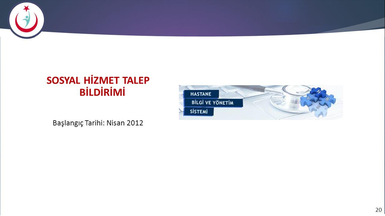 20 SOSYAL HİZMET TALEP BİLDİRİMİ Başlangıç Tarihi: Nisan 2012