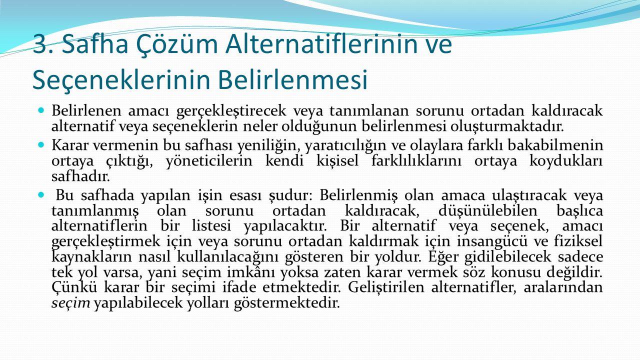 3. Safha Çözüm Alternatiflerinin ve Seçeneklerinin Belirlenmesi Belirlenen amacı gerçekleştirecek veya tanımlanan sorunu ortadan kaldıracak alternati
