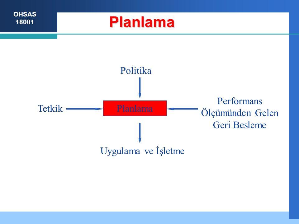 OHSAS 18001 Performans Ölçümünden Gelen Geri Besleme Planlama Planlama Uygulama ve İşletme Tetkik Politika