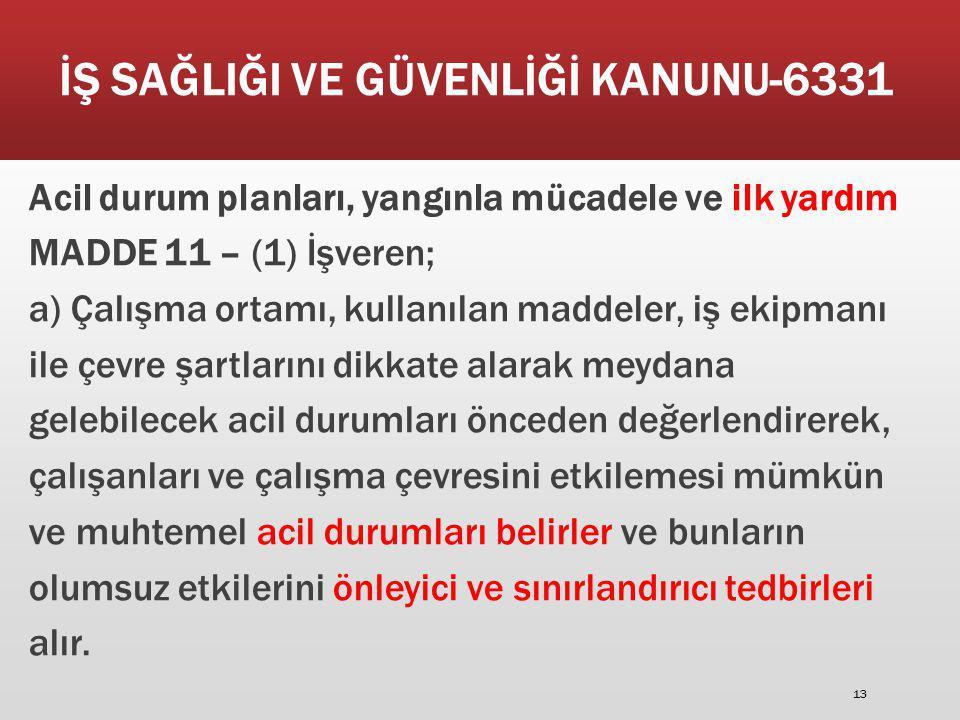 İŞ SAĞLIĞI VE GÜVENLİĞİ KANUNU-6331 Acil durum planları, yangınla mücadele ve ilk yardım MADDE 11 – (1) İşveren; a) Çalışma ortamı, kullanılan maddele