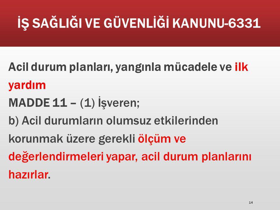İŞ SAĞLIĞI VE GÜVENLİĞİ KANUNU-6331 Acil durum planları, yangınla mücadele ve ilk yardım MADDE 11 – (1) İşveren; b) Acil durumların olumsuz etkilerind