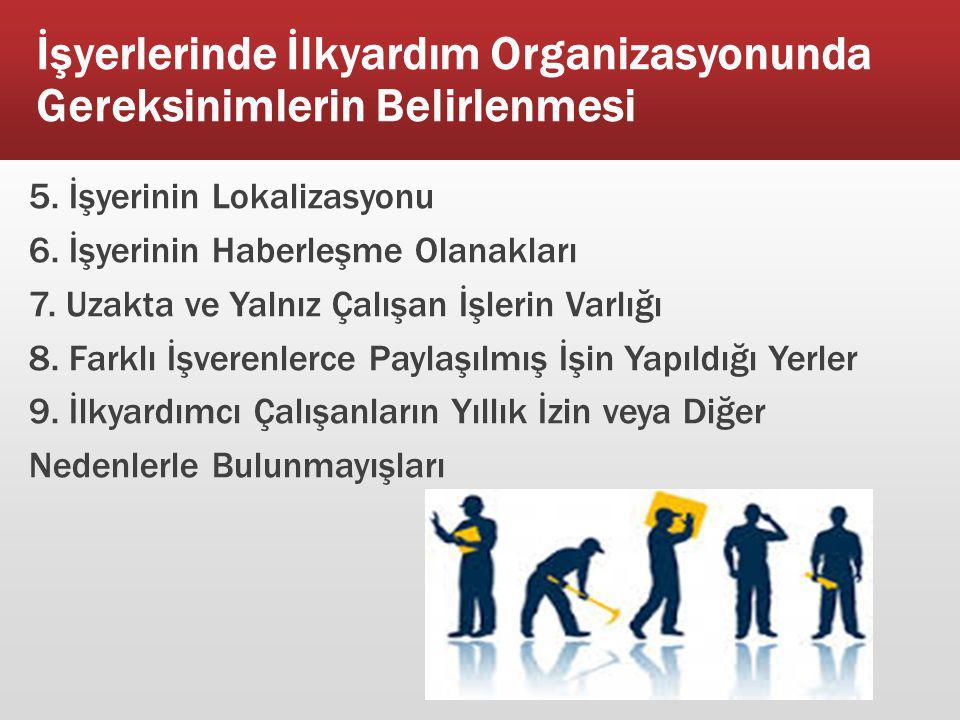 İşyerlerinde İlkyardım Organizasyonunda Gereksinimlerin Belirlenmesi 5. İşyerinin Lokalizasyonu 6. İşyerinin Haberleşme Olanakları 7. Uzakta ve Yalnız