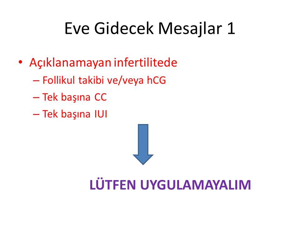 Eve Gidecek Mesajlar 1 Açıklanamayan infertilitede – Follikul takibi ve/veya hCG – Tek başına CC – Tek başına IUI LÜTFEN UYGULAMAYALIM