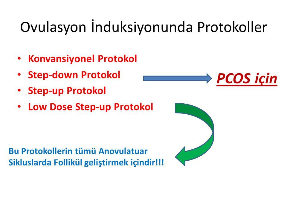 Ovulasyon İnduksiyonunda Protokoller Konvansiyonel Protokol Step-down Protokol Step-up Protokol Low Dose Step-up Protokol Bu Protokollerin tümü Anovulatuar Sikluslarda Follikül geliştirmek içindir!!.
