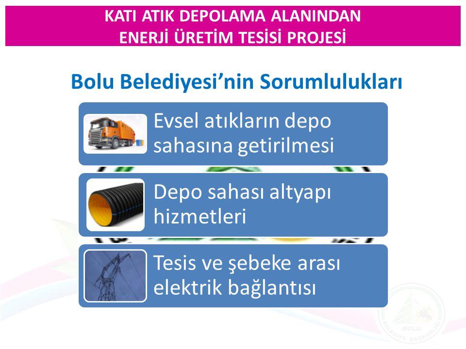 Bolu Belediyesi'nin Sorumlulukları Evsel atıkların depo sahasına getirilmesi Depo sahası altyapı hizmetleri Tesis ve şebeke arası elektrik bağlantısı