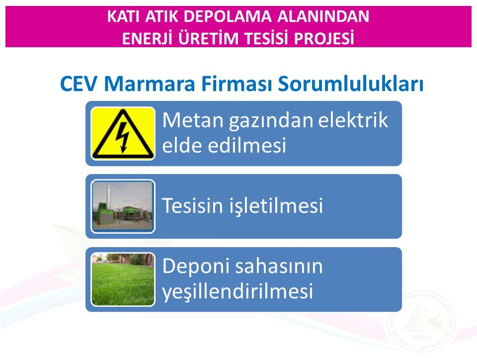 CEV Marmara Firması Sorumlulukları Metan gazından elektrik elde edilmesi Tesisin işletilmesi Deponi sahasının yeşillendirilmesi KATI ATIK DEPOLAMA ALA