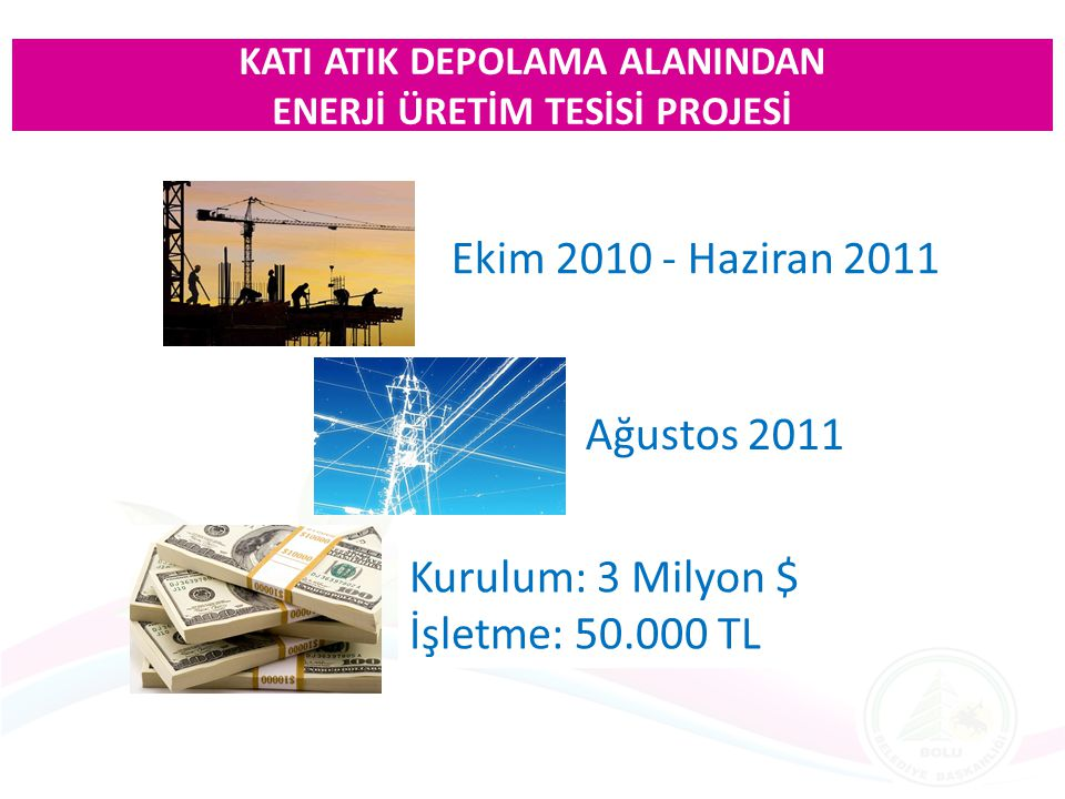 Ekim 2010 - Haziran 2011 Ağustos 2011 Kurulum: 3 Milyon $ İşletme: 50.000 TL KATI ATIK DEPOLAMA ALANINDAN ENERJİ ÜRETİM TESİSİ PROJESİ