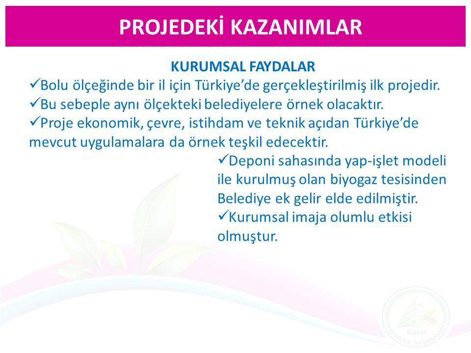 KURUMSAL FAYDALAR Bolu ölçeğinde bir il için Türkiye'de gerçekleştirilmiş ilk projedir. Bu sebeple aynı ölçekteki belediyelere örnek olacaktır. Proje
