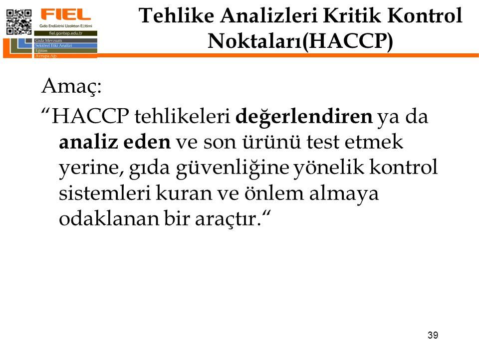 Tehlike Analizleri Kritik Kontrol Noktaları(HACCP) HACCP sistemi çoğu ülkede herhangi bir gıda işletme veya kuruluşu için mevzuatın gerektirdiği bir sistemidir.