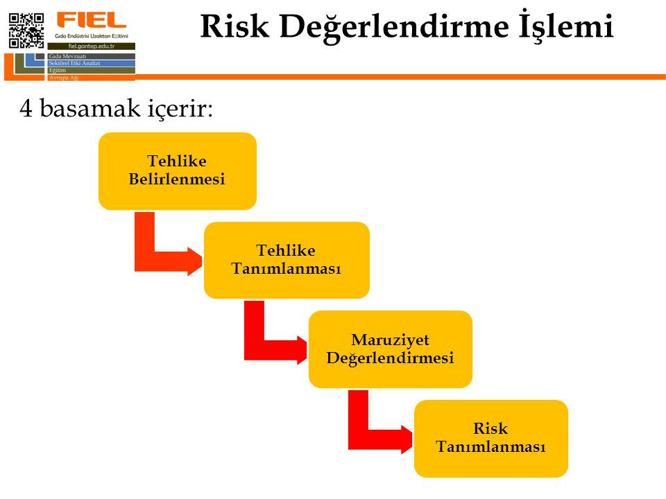 Risk Değerlendirme İşlemi 4 basamak içerir: 5 Tehlike Belirlenmesi Tehlike Tanımlanması Maruziyet Değerlendirmesi Risk Tanımlanması