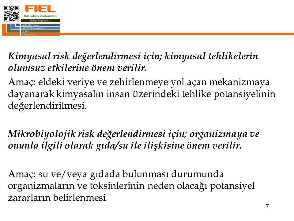 7 Kimyasal risk değerlendirmesi için; kimyasal tehlikelerin olumsuz etkilerine önem verilir.