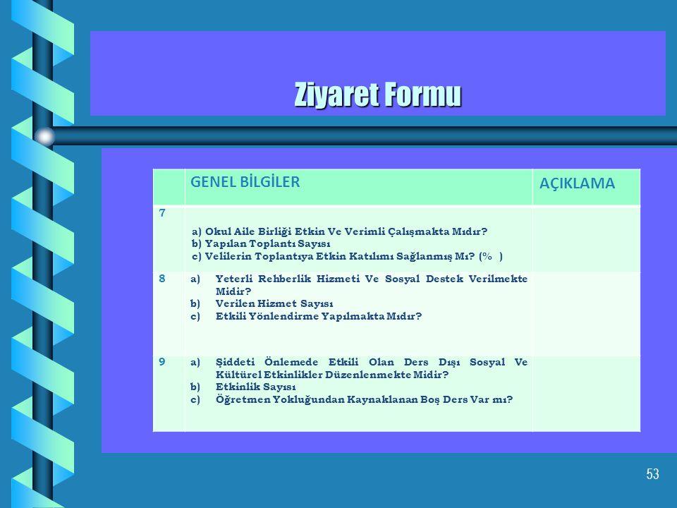 54 Ziyaret Formu GENEL BİLGİLER AÇIKLAMA 10 a) Öğrenci Ve Öğretmen Memnuniyeti İçin Anket, Araştırma, İnceleme Ve Benzeri Çalışmalar Yapılmış Mı.