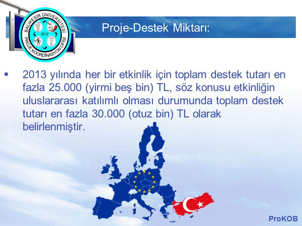 LOGO Proje-Destek Miktarı:  2013 yılında her bir etkinlik için toplam destek tutarı en fazla 25.000 (yirmi beş bin) TL, söz konusu etkinliğin uluslararası katılımlı olması durumunda toplam destek tutarı en fazla 30.000 (otuz bin) TL olarak belirlenmiştir.