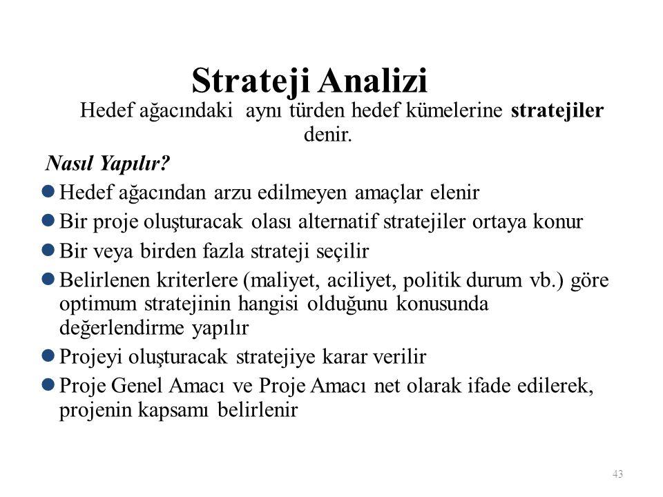 Strateji Analizi Hedef ağacındaki aynı türden hedef kümelerine stratejiler denir.