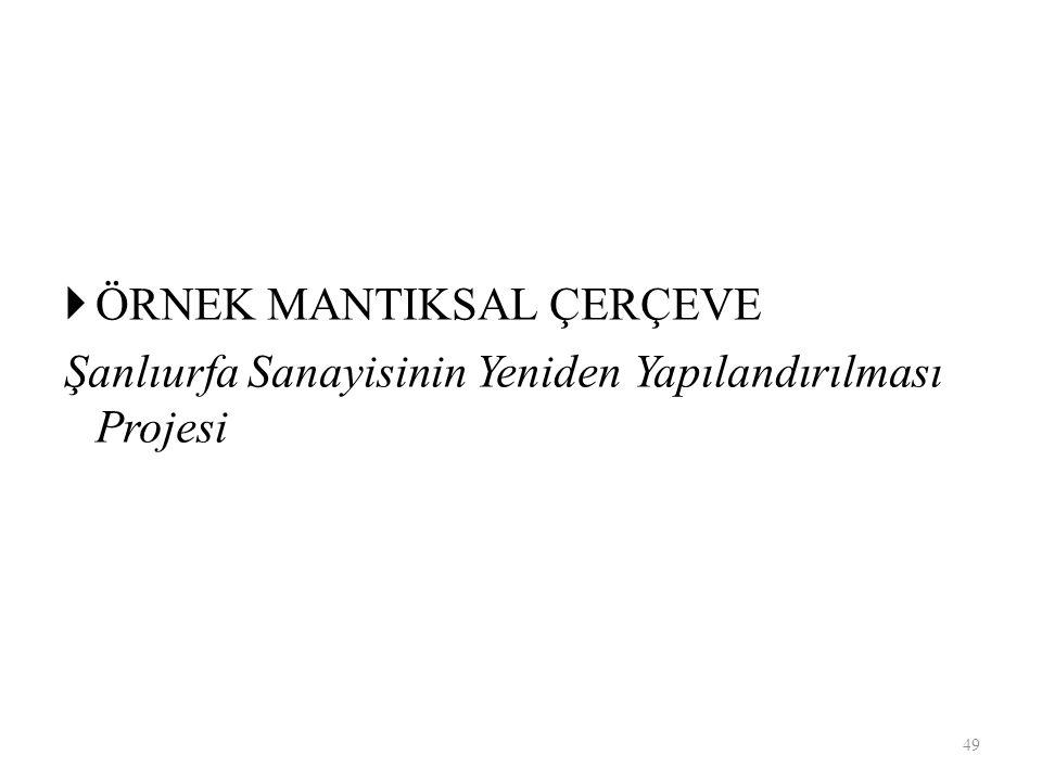  ÖRNEK MANTIKSAL ÇERÇEVE Şanlıurfa Sanayisinin Yeniden Yapılandırılması Projesi 49