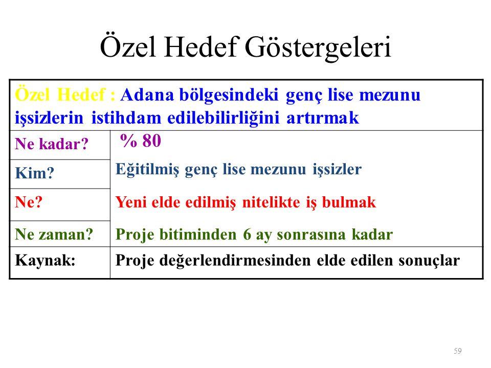 Özel Hedef Göstergeleri Özel Hedef : Adana bölgesindeki genç lise mezunu işsizlerin istihdam edilebilirliğini artırmak Ne kadar.
