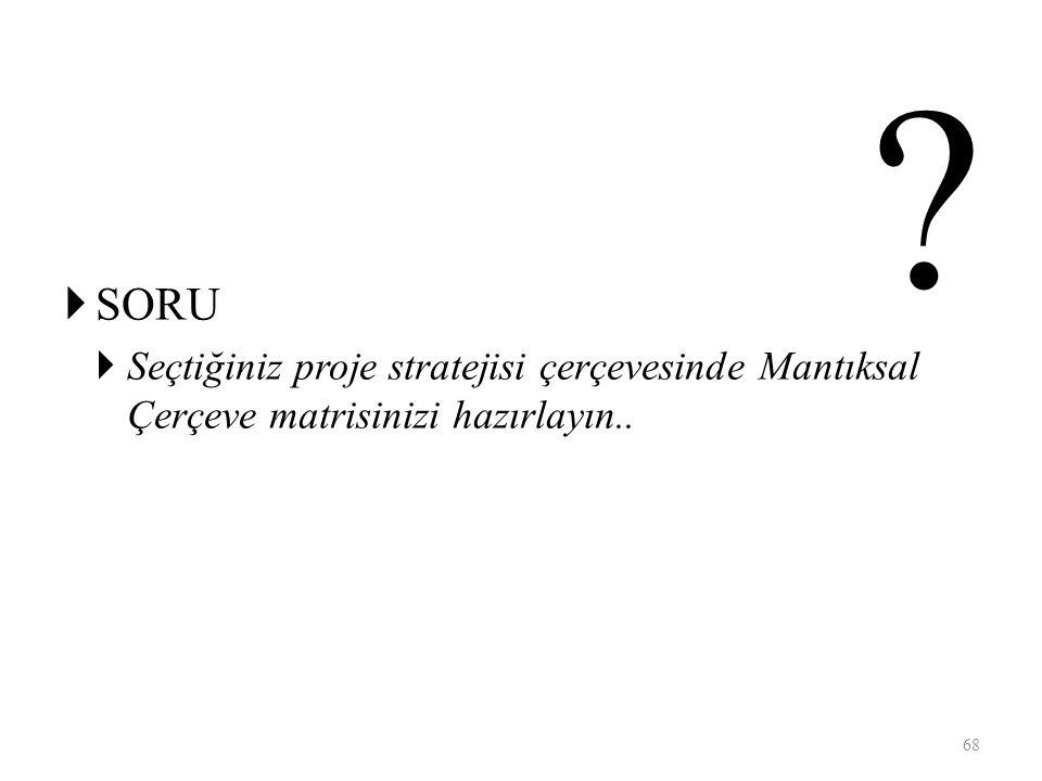  SORU  Seçtiğiniz proje stratejisi çerçevesinde Mantıksal Çerçeve matrisinizi hazırlayın.. 68 ?