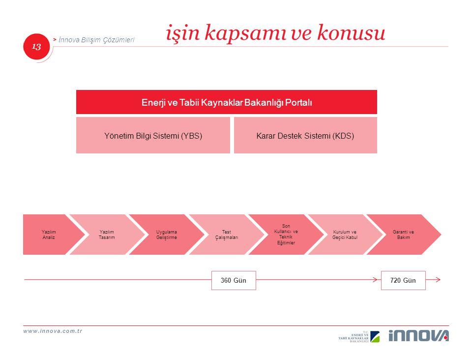 www.innova.com.tr 13 İnnova Bilişim Çözümleri işin kapsamı ve konusu Yönetim Bilgi Sistemi (YBS) Enerji ve Tabii Kaynaklar Bakanlığı Portalı Karar Des