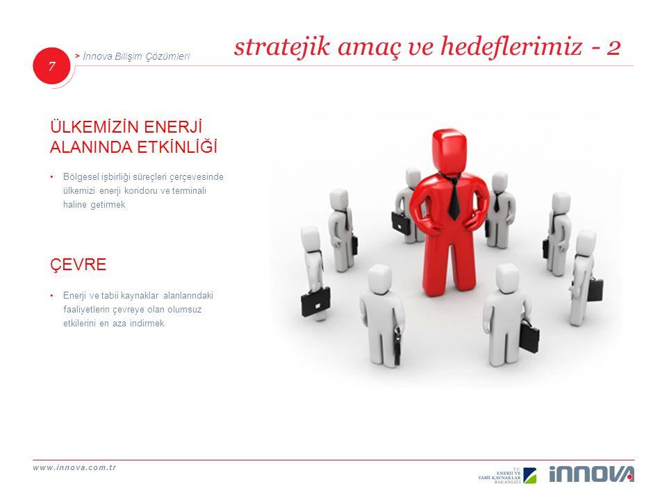 www.innova.com.tr 7 İnnova Bilişim Çözümleri stratejik amaç ve hedeflerimiz - 2 Bölgesel işbirliği süreçleri çerçevesinde ülkemizi enerji koridoru ve