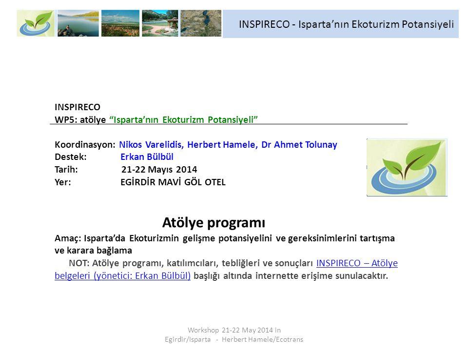 Workshop 21-22 May 2014 in Egirdir/Isparta - Herbert Hamele/Ecotrans INSPIRECO - Isparta'nın Ekoturizm Potansiyeli INSPIRECO WP5: atölye Isparta'nın Ekoturizm Potansiyeli Koordinasyon: Nikos Varelidis, Herbert Hamele, Dr Ahmet Tolunay Destek: Erkan Bülbül Tarih: 21-22 Mayıs 2014 Yer: EGİRDİR MAVİ GÖL OTEL Atölye programı Amaç: Isparta'da Ekoturizmin gelişme potansiyelini ve gereksinimlerini tartışma ve karara bağlama NOT: Atölye programı, katılımcıları, tebliğleri ve sonuçları INSPIRECO – Atölye belgeleri (yönetici: Erkan Bülbül) başlığı altında internette erişime sunulacaktır.
