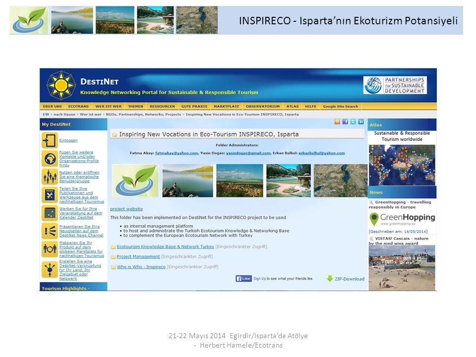 21-22 Mayıs 2014 Egirdir/Isparta'da Atölye - Herbert Hamele/Ecotrans INSPIRECO - Isparta'nın Ekoturizm Potansiyeli