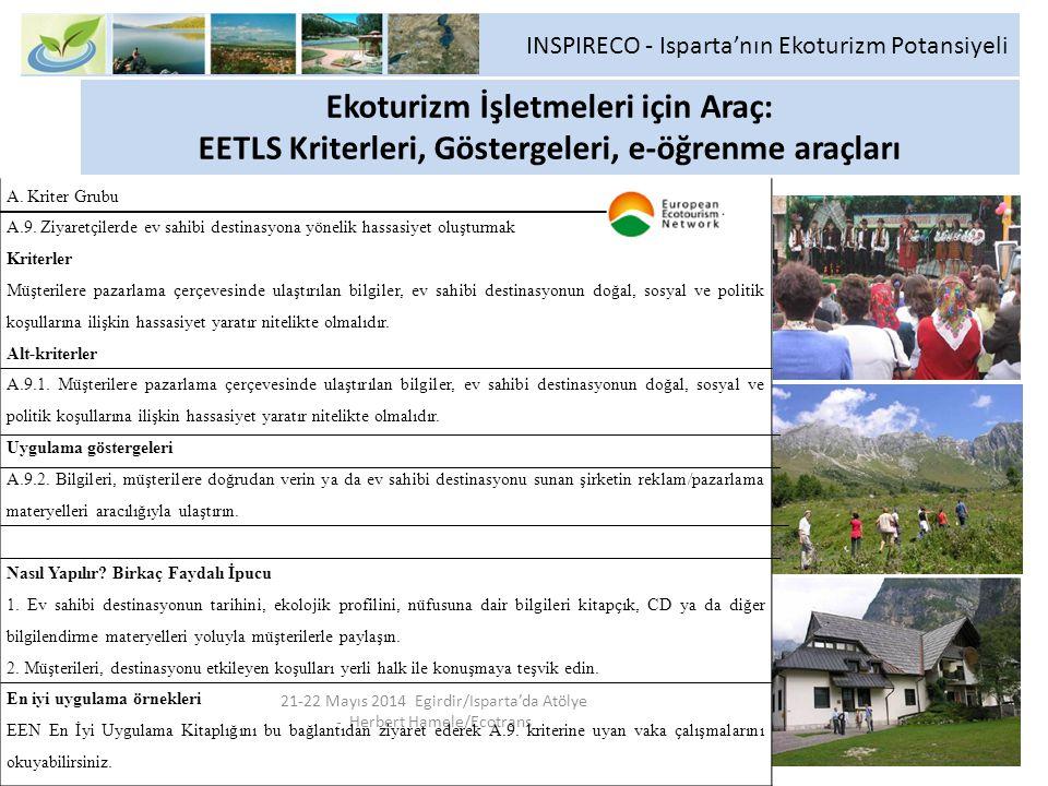 Ekoturizm İşletmeleri için Araç: EETLS Kriterleri, Göstergeleri, e-öğrenme araçları 21-22 Mayıs 2014 Egirdir/Isparta'da Atölye - Herbert Hamele/Ecotra