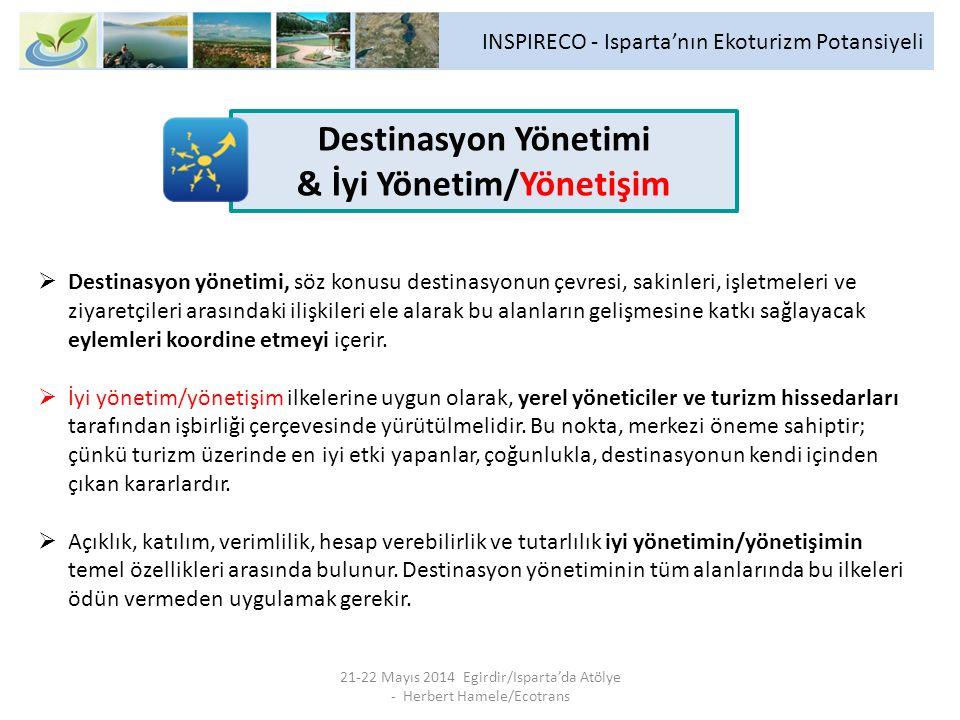 INSPIRECO - Isparta'nın Ekoturizm Potansiyeli 21-22 Mayıs 2014 Egirdir/Isparta'da Atölye - Herbert Hamele/Ecotrans  Destinasyon yönetimi, söz konusu destinasyonun çevresi, sakinleri, işletmeleri ve ziyaretçileri arasındaki ilişkileri ele alarak bu alanların gelişmesine katkı sağlayacak eylemleri koordine etmeyi içerir.