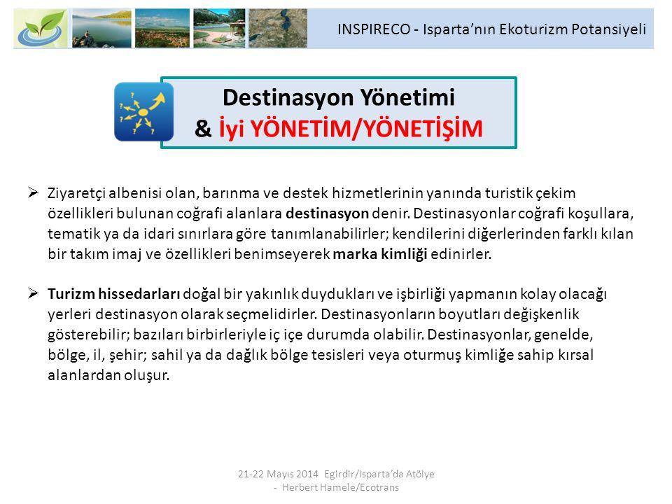 INSPIRECO - Isparta'nın Ekoturizm Potansiyeli 21-22 Mayıs 2014 Egirdir/Isparta'da Atölye - Herbert Hamele/Ecotrans  Ziyaretçi albenisi olan, barınma ve destek hizmetlerinin yanında turistik çekim özellikleri bulunan coğrafi alanlara destinasyon denir.