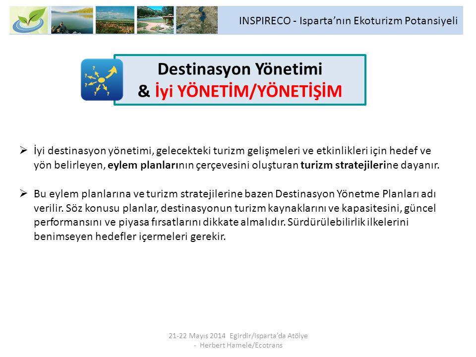 INSPIRECO - Isparta'nın Ekoturizm Potansiyeli 21-22 Mayıs 2014 Egirdir/Isparta'da Atölye - Herbert Hamele/Ecotrans  İyi destinasyon yönetimi, gelecekteki turizm gelişmeleri ve etkinlikleri için hedef ve yön belirleyen, eylem planlarının çerçevesini oluşturan turizm stratejilerine dayanır.
