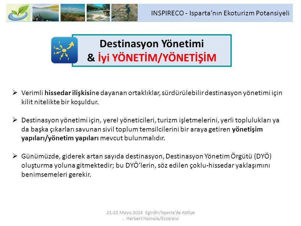INSPIRECO - Isparta'nın Ekoturizm Potansiyeli 21-22 Mayıs 2014 Egirdir/Isparta'da Atölye - Herbert Hamele/Ecotrans  Verimli hissedar ilişkisine dayanan ortaklıklar, sürdürülebilir destinasyon yönetimi için kilit nitelikte bir koşuldur.