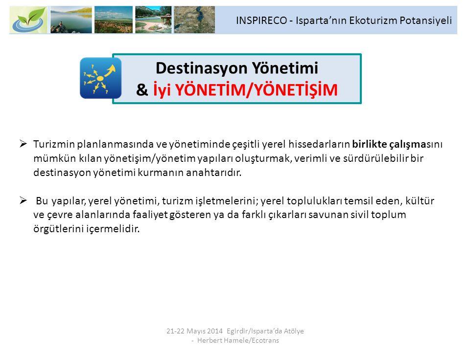 INSPIRECO - Isparta'nın Ekoturizm Potansiyeli 21-22 Mayıs 2014 Egirdir/Isparta'da Atölye - Herbert Hamele/Ecotrans  Turizmin planlanmasında ve yönetiminde çeşitli yerel hissedarların birlikte çalışmasını mümkün kılan yönetişim/yönetim yapıları oluşturmak, verimli ve sürdürülebilir bir destinasyon yönetimi kurmanın anahtarıdır.
